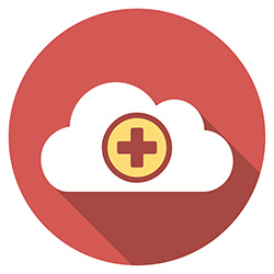 a cloud with a red cross representing health data analytics