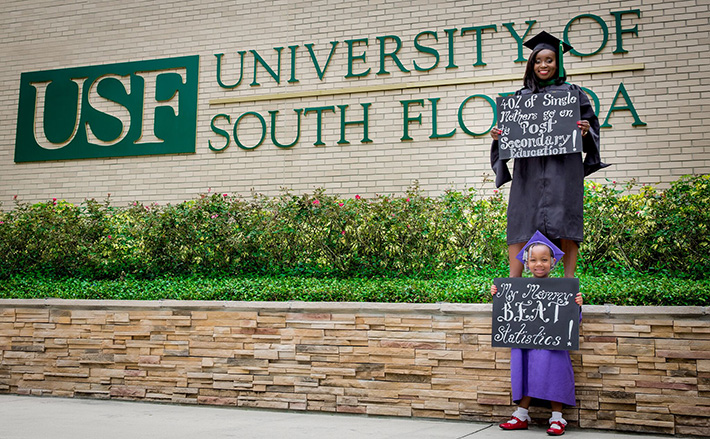 mother and daughter with single mother graduation statistic